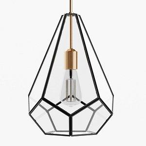 3D Gemma Glass Pane Pyramid Pendant Light