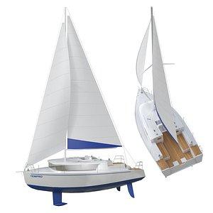 3D white yacht