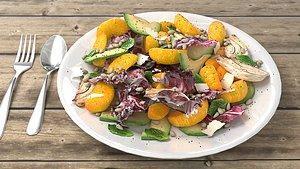 3D salad vegetable food