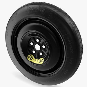 3D model Temporary Spare Wheel with Tyre 125 R15