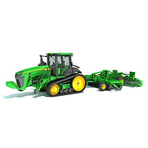 Tractor with Trailed Disc Harrow 3D model