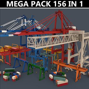 PBR Gantry Cranes and Cargo Containers - Mega Pack model