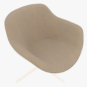 3D Cassina 277-22 Auckland Arm Chair Sandy Fabric White Body