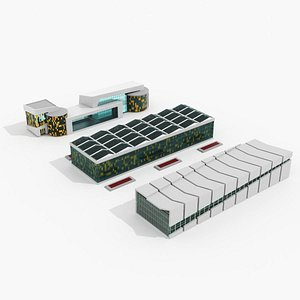 3D factory building architecture model