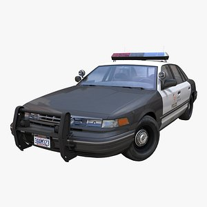 American 90s police car PBR 3D model