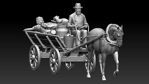 3D peasant on a cart with a horse