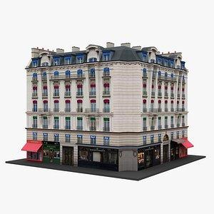 Paris Corner Apartment Building 11 3D model