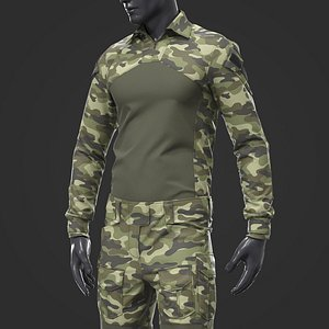 3D model Army Tactical Camouflage Military Uniform
