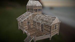 3D model huts shack