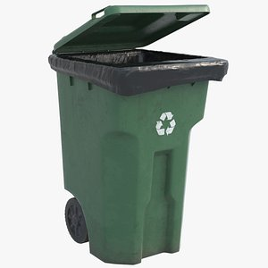 3D Recycle Bin Green HD