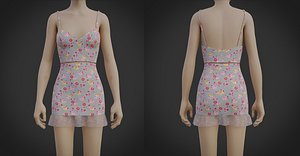 Crop Top Cami and Mini Skirt dress - two piece summer outfit 3D model