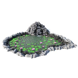 waterfall water lily 3D model