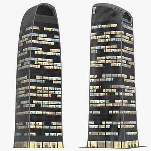 3D Commercial Skyscraper Night Glow