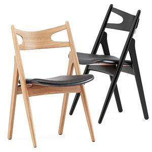 ch29p sawbuck chair 3D model