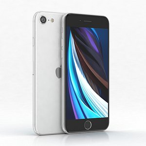 3D apple se 2020 white model