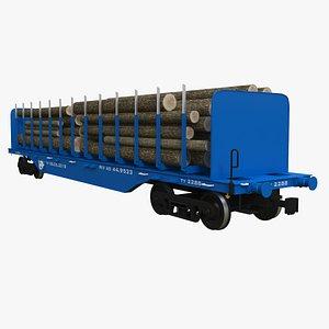 3D model Railroad Car Timber Transport