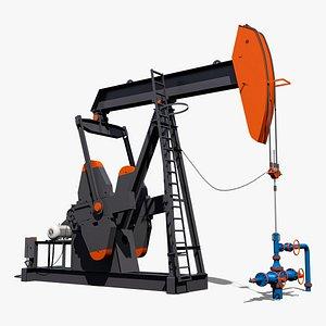 3D conventional pumpjack pump model