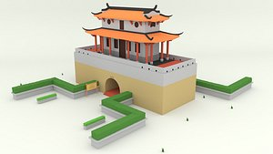 cartoon taiwan historic site 3D