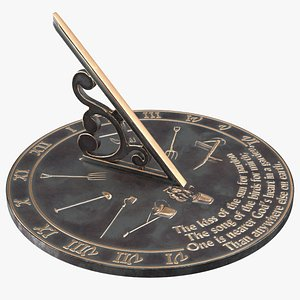 solid brass horizontal sundial 3D model