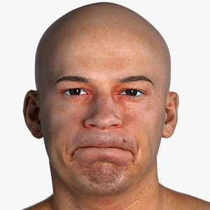 Real PBR Marcus Human Head Cheek Puff AU34 3D