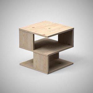 Kaiya End Table Pine finish 3D