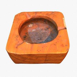 3D Ashtray wood hy poly 3D model model