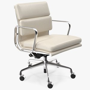 3D Management Chair White Leather