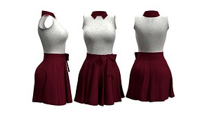 Little Maroon And White Outfit 3D