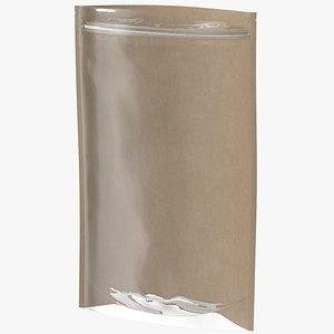 Zipper Kraft Paper Bag with Transparent Front 400 g Open Mockup 3D model