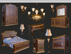 3D vintage furniture bedroom pack model