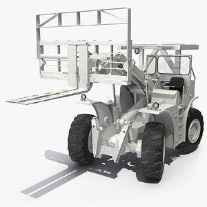 military forklift white rigged 3D model