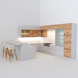 3D model white kitchen