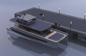 luxury solar catamaran 3D