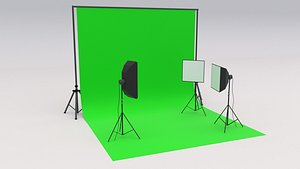 3D Photo Studio Softbox with Green Screen