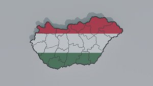 3D Political Map of Hungary model