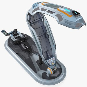 Sci Fi Hibernation Pod with Control Panel 3D model