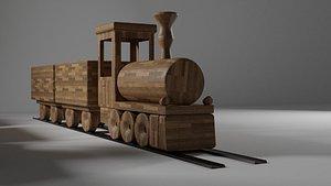 3D wood train model