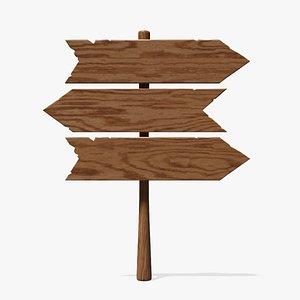 Wooden Sign Board Three 3D model