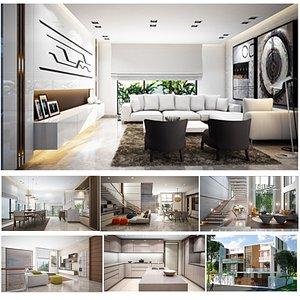 3D Duplex House Complete Scene exterior and Interior model