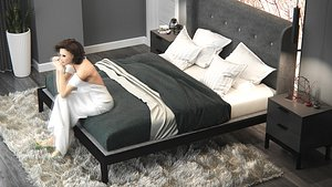 bedroom and dressing room 3D model
