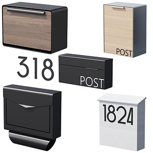3D 041 Modern Mailboxes 01 Wallmounted 00