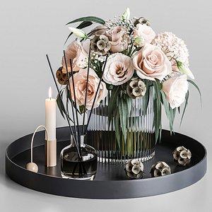 set bouquet flowers model