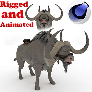 3D Buffalo Rigged and Animated