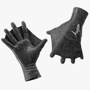 3D model Darkfin Webbed Power Swimming Gloves Wet