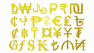 Collection of world currency symbols 3D model