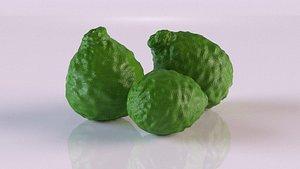 3D model kaffir lime bergamot fruit