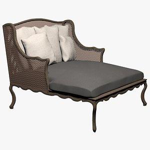 The Campden Velvet Salon Chair 3D model