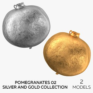 3D model Pomegranates 02 Silver and Gold Collection - 2 models