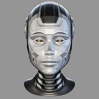 Female cyborg head