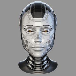 Female cyborg head 3D